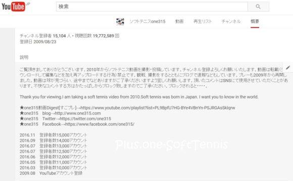 YouTube ソフトテニスone315チャンネル登録数が15,000を越えました。